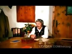 vintage golden-haired waitress gets her