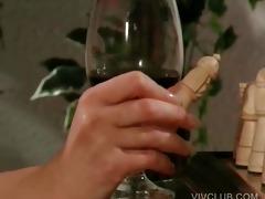 fleshly babe rubs milk shakes against a dude
