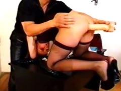 anal euro honey takes a large dildo
