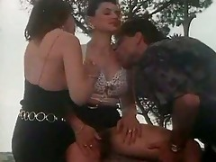 outdoor vintage threesome with breasty whores