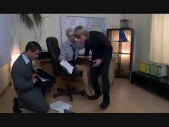 classic bisex three-some at office