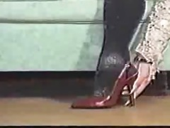 sharp and long nails taking boots