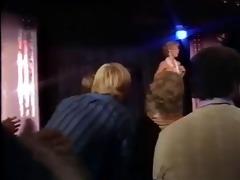 blonde teacher undresses on stage