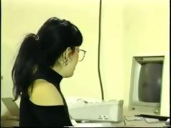 secretary gets glasses overspread in semen