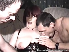homemade film with aged woman and three men