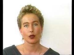 retro german babe fucks herself on camera