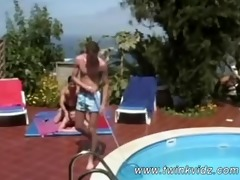 threesome outrageously pretty chaps outdoor anal