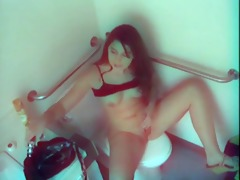 a gal caught masturbating in shitter 3 by