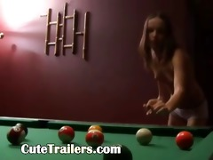 hot billiards sex of slim pair