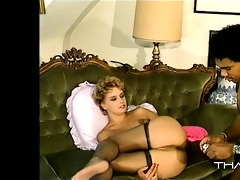 short haired blonde groaning from black dick in